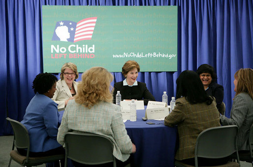 "Mrs. Laura Bush is joined by U.S. Department of Education Secretary Margaret Spellings at a roundtable discussion with Ohio teachers during ""Celebrating Teachers"" week, Tuesday, May 2, 2006 at the Thurber Center in Columbus, Ohio, highlighting the importance of teachers in children's lives. Moderator of the discussion is Deepa Ganschinietz, far right, the 2006 Ohio Teacher of the Year. White House photo by Kimberlee Hewitt"