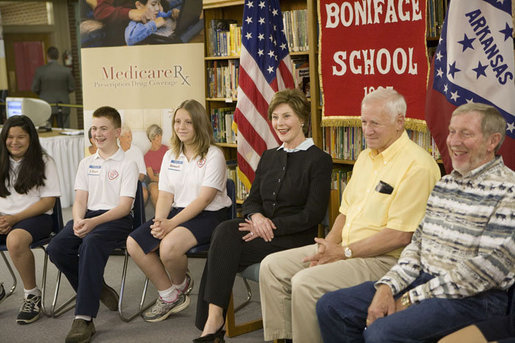Mrs. Laura Bush meets with St. Boniface sixth-graders and senior citizens Tuesday, May 2, 2006 in Ft. Smith, Ark., to remind seniors of the May 15th enrollment deadline to sign-up for the Medicare Prescription Drug Benefit. White House photo by Kimberlee Hewitt