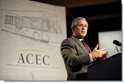"President George W. Bush addresses the American Council of Engineering Companies in Washington, D.C., May 3, 2006. ""Most new jobs in America are created by small businesses, and when the small business sector is strong, it means people are going to find work,"" said President Bush. ""The number of Hispanic-owned businesses is growing at three times the national rate, and that's a positive development."" White House photo by Eric Draper"