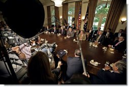 "President George W. Bush addresses the press during a meeting with members of Congress in the Cabinet Room Wednesday, May 3, 2006. ""We talked about ways to deal with America's energy problem,"" said President Bush. ""And we talked about it in a very constructive way, and I want to thank the members for joining us."" White House photo by Eric Draper"