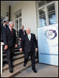 Vice President Dick Cheney and Lithuanian President Valdus Adamkus walk together after the conclusion of a bilateral meeting Wednesday, May 3, 2006 in Vilnius, Lithuania. The Vice President was welcomed to the Presidential Palace to discuss regional issues prior to Thursday's Vilnius Conference 2006, a summit gathering leaders of the Baltic and Black Sea regions. White House photo by David Bohrer