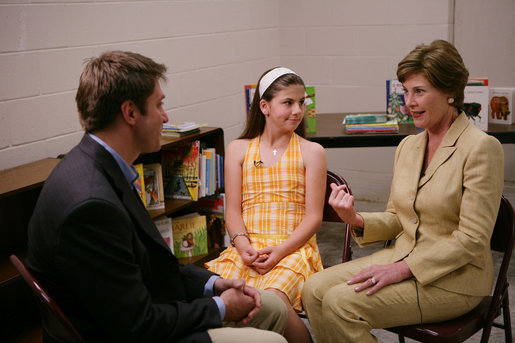 Mrs. Laura Bush participates in an interview Wednesday, May 3, 2006 in Biloxi, Miss., with Steve Hartman of CBS News, and 11 year-old Kelsie Buckley, founder of Kelsie's Books, a non-profit foundation which focuses on helping libraries receive money for large print books for low-vision students. Kelsie has raised nearly $79,000 through her efforts to help libraries in the Gulf Coast region devastated by Hurricane Katrina. White House photo by Kimberlee Hewitt