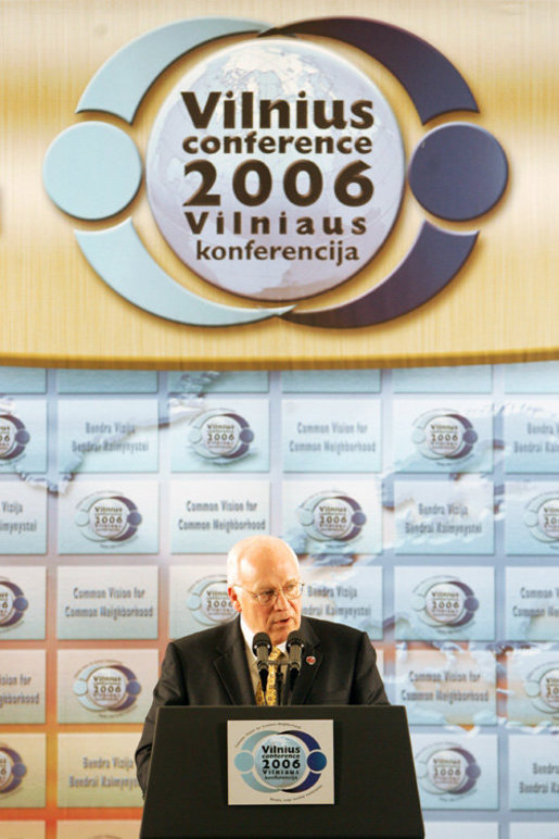 Vice President Dick Cheney delivers the keynote speech at the Vilnius Conference 2006 in Vilnius, Lithuania, Thursday May 4, 2006. The conference brings together delegations from the Baltic and Black Sea regions that are committed to the advancement of democracy and dedicated to working together to reinforce common values and regional interests. White House photo by David Bohrer