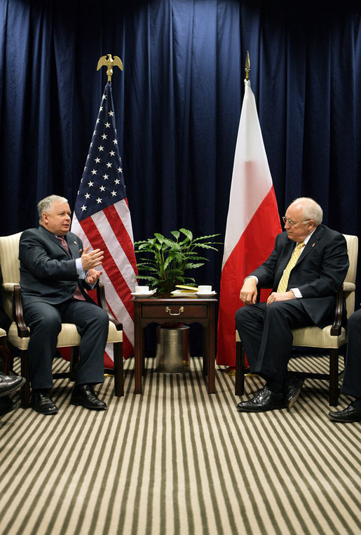Vice President Dick Cheney and Poland's President Lech Kaczynski hold a bilateral meeting Thursday, May 4, 2006 at the Vilnius Conference 2006 in Vilnius, Lithuania. During the meeting the two leaders discussed the important relationship between the two countries. White House photo by David Bohrer