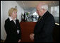 Vice President Dick Cheney meets with Inna Kuley, wife of recently jailed Belarusian democracy advocate Alyaksandr Milinkevich, at the Vilnius Conference 2006 in Vilnius, Lithuania, Thursday, May 4, 2006. Earlier in the day the Vice President delivered the conference's keynote speech and called for the release of Milinkevich and other activists who were jailed after pledging to use civil disobedience to bring about the removal of Belarusian President Alyaksandr Lukashenka. White House photo by David Bohrer