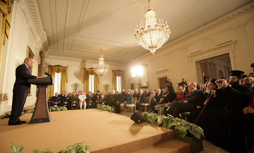President George W. Bush addresses guests in the East Room of the White House Thursday, May 4, 2006, during a celebration of the National Day of Prayer. White House photo by Eric Draper