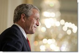 President George W. Bush speaks with guests during the White House celebration of Cinco De Mayo in the East Room Thursday, May 4, 2006.  White House photo by Paul Morse