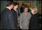 Mrs. Lynne Cheney listens to an interpreter, as she's greeted by Sabilya Mustafina, center, deputy Mayor of Astana, as she arrives at Biterek. Vice President Dick Cheney and Mrs. Cheney arrived in Kazakhstan Friday, May 5, 2006. Photo by Aleksandr Zhabchuk