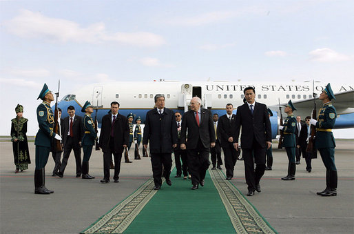 Vice President Dick Cheney walks through an Honor Guard with Foreign Minister Kasymzhomart Tokayev upon arrival in Astana, Kazakhstan, Friday, May 5, 2006. While in Astana the Vice President will meet with Kazakh President Nursultan Nazarbayev to discuss a range of issues including democratization, Central Asian relations, energy, and the global war on terror. White House photo by David Bohrer