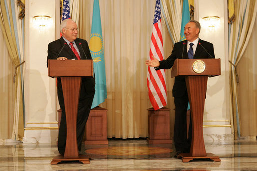 "Vice President Dick Cheney and Kazakh President Nursultan Nazarbayev speak to the press following their meeting at the Presidential Palace in Astana, Kazakhstan, Friday, May 5, 2006. In his remarks the Vice President said, ""The vision we affirm today is a community of sovereign states that grow in liberty and prosperity, trade and freedom and strive together for a century of peace. Standing in this modern capital city, I am proud to affirm the strong ties between Kazakhstan and the United States."" White House photo by David Bohrer"