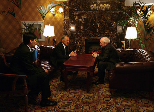 With the aid of an interpreter Vice President Dick Cheney and Kazakh President Nursultan Nazarbayev spend a final moment to talk alone before concluding meetings in Astana, Kazakhstan, Friday, May 5, 2006. White House photo by David Bohrer