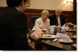 Lynne Cheney, wife of Vice President Dick Cheney, directs a question during a discussion with young Kazakhstan leaders, Saturday, May 6, 2006, in Astana, Kazakhstan. The Vice President and Mrs. Cheney met with the youth to encourage people-to-people ties between the US and Kazakhstan.  White House photo by David Bohrer