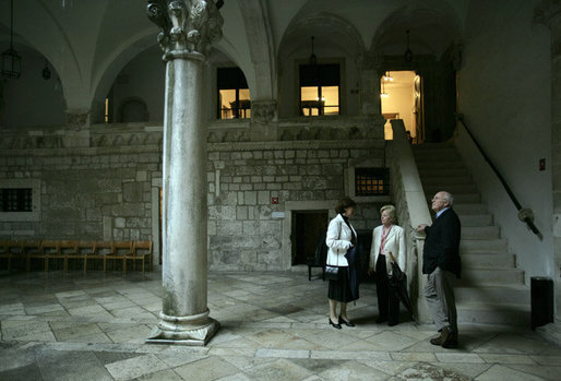 Vice President Dick Cheney and Lynne Cheney stand inside the atrium of the Rector's Palace, a gothic monument constructed in 1435 upon the foundations of structures dating back to the middle ages, during a tour of the Old City of Dubrovnik, Croatia, Saturday, May 6, 2006. White House photo by David Bohrer