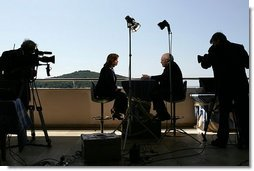 Before departing Dubrovnik, Croatia to return to the U.S., Vice President Dick Cheney participates in an interview with Kelly O'Donnell of NBC News, Sunday, May 7, 2006. During the interview the Vice President discussed issues ranging from relations with Russia to his role in U.S. politics and policy making. White House photo by David Bohrer