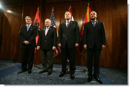 Vice President Dick Cheney stands with Albanian Prime Minister Sali Berisha, left, Croatian Prime Miniser Ivo Sanader, center right, and Macedonian Prime Minister Vlado Buckovski, right, during a multilateral meeting of the Adriatic Charter countries, Sunday, May 7, 2006 in Dubrovnik, Croatia.  White House photo by David Bohrer