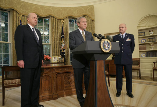 "President George W. Bush announces his nomination of Gen. Michael V. Hayden as the next Director of the Central Intelligence Agency Monday, May 8, 2006, in the Oval Office as Ambassador John Negroponte, Director of National Intelligence, looks on. Said the President of Gen. Hayden: ""He's the right man to lead the CIA at this critical moment in our nation's history."" White House photo by Paul Morse"