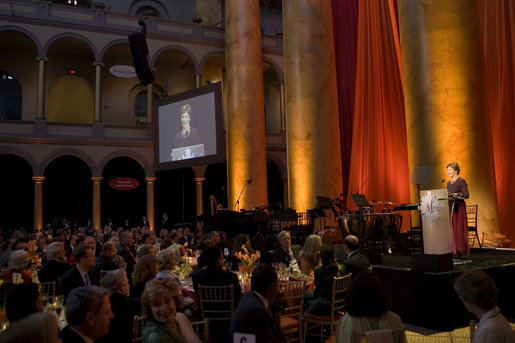 Mrs. Laura Bush addresses the guests at the Mosaic Foundation dinner in the National Building Museum in Washington, D.C., Wednesday, May 9, 2006. Founded by the spouses of Arab Ambassadors to the United States, the Mosaic Foundation is dedicated to improving the lives of women and children. White House photo by Shealah Craighead