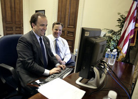Outgoing White House Press Secretary Scott McClellan and his brother Medicare and Medicaid Services Administrator Mark McClellan answer questions on Ask The White House, Wednesday, May 10, 2006. White House photo by Eric Draper