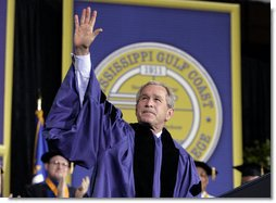 "President addresses the 2006 graduation class at Mississippi Gulf Coast Community College in Biloxi, Miss., Thursday, May 11, 2006. ""I am proud to stand before some of the most determined students at college or university in America,"" said the President. ""Over these past nine months you have shown a resilience more powerful than any storm.""  White House photo by Paul Morse"