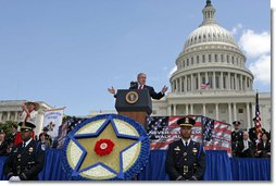 President George W. Bush delivers remarks to the Annual Peace Officers' Memorial Service at the U. S. Capitol Monday, May 15, 2006. The service honors fallen federal, state and local law enforcement officers. White House photo by Kimberlee Hewitt