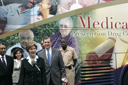 Mrs. Laura Bush addresses the press during the last day of enrollment for the new Medicare prescription drug benefit at Shiloh Baptist Church in Washington, D.C., Monday, May 15, 2006. White House photo by Shealah Craighead