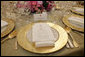 The dinner setting for President George W. Bush is seen Tuesday, May 16, 2006, in the State Dining Room of the White House for the official dinner in honor of Australian Prime Minister John Howard and his wife Janette Howard. White House photo by Shealah Craighead