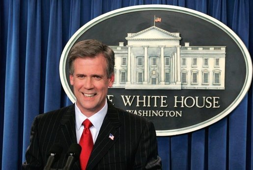 White House Press Secretary Tony Snow, Tuesday, May 16, 2006, fields questions during his first briefing after replacing Scott McClellan. White House photo by Paul Morse