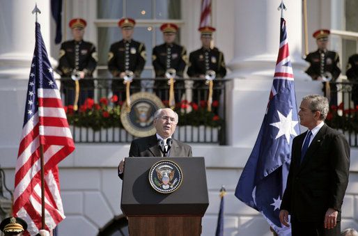 "Prime Minister John Howard speaks during the State Arrival Ceremony held in his honor on the South Lawn Tuesday, May 16, 2006. ""Terrorism respects no value system; terrorism does not respect the tenets of the great religions of the world; terrorism is based on evil, intolerance and bigotry,"" said Prime Minister Howard of America and Australia's efforts in the War of Terror. ""And no free societies, such as Australia and the United States, can ever buckle under to bigotry and intolerance."" White House photo by Paul Morse"