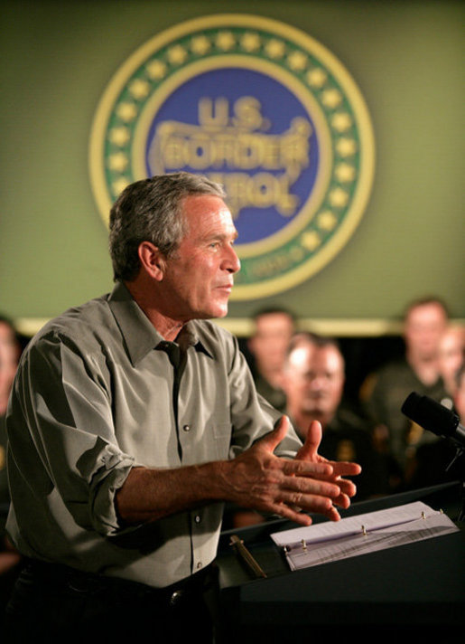 President George W. Bush delivers remarks on border security and immigration reform at the U.S. Border Patrol Yuma Sector Headquarters in Yuma, Arizona, Thursday, May 18, 2006. White House photo by Eric Draper
