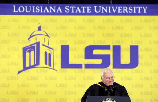 "Vice President Dick Cheney addresses graduates and their families, Friday, May 19, 2006 at Louisiana State University's 259th Commencement in Baton Rouge, Louisiana. ""We look with tremendous respect to what happened on the LSU campus,"" said the vice president of LSU's response to Hurricane Katrina. ""This community stood together as one, and provided an example of teamwork and compassion that impressed the entire nation. And on behalf of the nation, I thank you."" White House photo by David Bohrer"