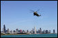 Marine One, with President George W. Bush aboard, arrives in Chicago Monday, May 22, 2006. White House photo by Eric Draper