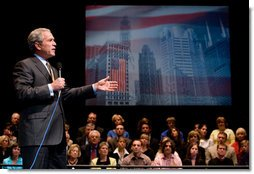 President George W. Bush delivers remarks on the War on Terror Monday, May 22, 2006, at Arie Crown Theater at Lakeside Center in Chicago.  White House photo by Eric Draper