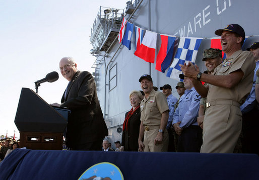 Vice President Dick Cheney gets a laugh from Navy commanders on stage as he makes a joke during an address to over 4,000 sailors and Marines from the flight deck of the amphibious assault ship USS Bonhomme Richard docked at Naval Station San Diego. White House photo by David Bohrer