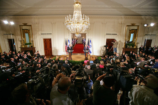 President George W. Bush and Prime Minister Ehud Olmert of Israel hold a joint press conference in the East Room Tuesday, May 23, 2006. White House photo by Kimberlee Hewitt