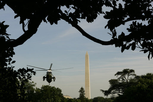 Marine One approaches the South Lawn Wednesday evening, May 24, 2006 returning President George W. Bush to the White House following his afternoon visit to Pennsylvania. White House photo by Shealah Craighead