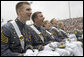 Class of 2006 graduating Cadets of the U.S. Military Academy at West Point, share in a laugh Saturday, May 27, 2006, during President George W. Bush's commencement speech. White House photo by Shealah Craighead