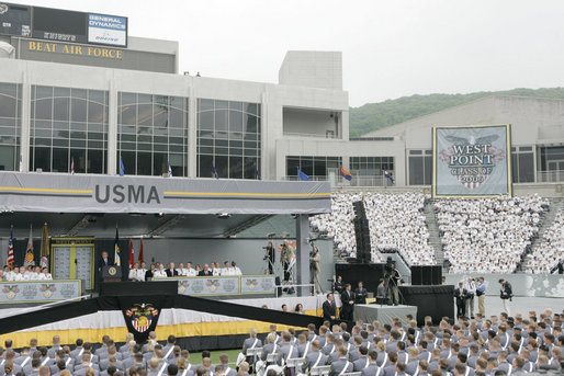 "President George W. Bush addresses West Point's 208th graduating class Saturday, May 27, 2006, in West Point, N.Y. During his remarks the President said, ""Now the Class of 2006 will enter the great struggle and the final outcome depends on your leadership. The war began on my watch but it's going to end on your watch. "" White House photo by Shealah Craighead"