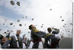 Graduates of the U.S. Military Academy take part in the traditional hat toss Saturday, May 27, 2006, after commencement ceremonies in West Point, N.Y. President George W. Bush delivered the commencement speech to the 861 Cadets.  White House photo by Shealah Craighead