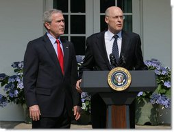 Henry Paulson responds to President George W. Bush Tuesday, May 30, 2006, after the President announced his nomination of the Chairman and Chief Executive Officer of the Goldman Sachs Group to succeed Treasury Secretary John Snow, who announced his resignation.  White House photo by Shealah Craighead