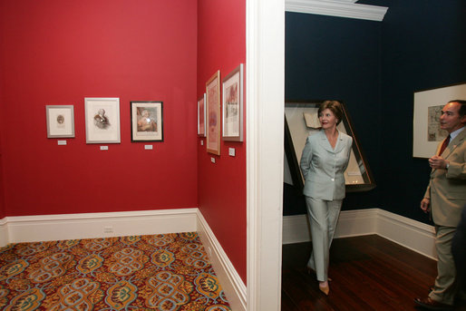 Mrs. Laura Bush tours the Historic New Orleans Collection Museum with co-curator Alfred Lemmon in New Orleans' French Quarter Wednesday, May 31, 2006. Established in 1966, the museum is currently hosting an exhibit about the shared history of Louisiana and St. Domingue, Haiti. White House photo by Shealah Craighead