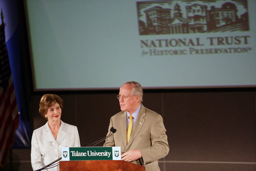 Mrs. Laura Bush listens to Richard Moe, President of the National Trust for Historic Preservation, Wednesday, May 31, 2006. Mr. Moe introduced Mrs. Bush during a historic preservation summit at Tulane University in New Orleans. White House photo by Shealah Craighead