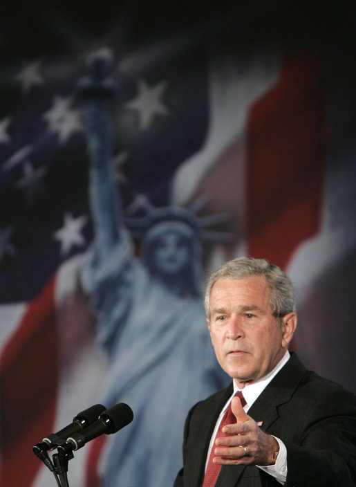 "President George W. Bush delivers remarks Thursday, June 1, 2006, on Comprehensive Immigration Reform during an appearance at the United States Chamber of Commerce. Said the President, ""America can be a lawful society and America can be a welcoming society at the same time."" White House photo by Paul Morse"