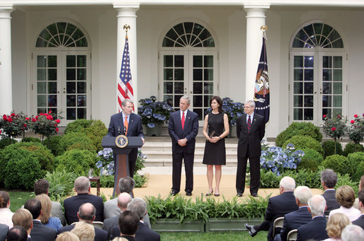 Rob Portman speaks during his swearing-in ceremony as the Director of the Office of Management and Budget in the Rose Garden Friday, June 2, 2006. White House photo by Kimberlee Hewitt