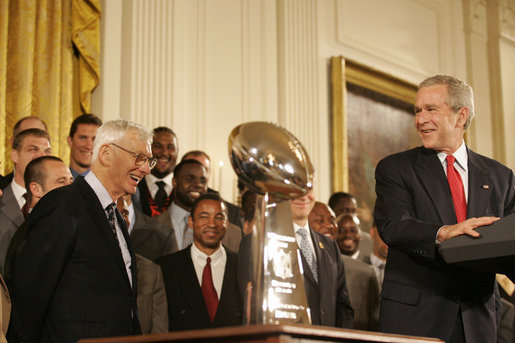 President George W. Bush addresses his remarks to Pittsburgh Steelers owner Dan Rooney as he welcomes the Super Bowl Champion Pittsburgh Steelers to the White House, Friday, June 2, 2006, during a ceremony in the East Room to honor the Super Bowl champs. White House photo by Eric Draper
