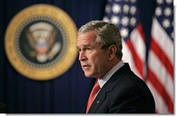 "President George W. Bush delivers a statement on the Marriage Protection Amendment in the Presidential Hall of the Dwight D. Eisenhower Executive Office Building Monday, June 5, 2006. ""In 1996, Congress approved the Defense of Marriage Act by large bipartisan majorities in both the House and the Senate, and President Clinton signed it into law."" said the President. ""And since then, 19 states have held referendums to amend their state constitutions to protect the traditional definition of marriage. In every case, the amendments were approved by decisive majorities with an average of 71 percent."" White House photo by Eric Draper"