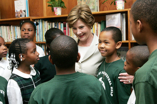 Mrs. Laura Bush meets with students during her visit to Our Lady of Perpetual Help School in Washington, Monday, June 5, 2006, where she announced a Laura Bush Foundation for America's Libraries grant to the school. White House photo by Shealah Craighead