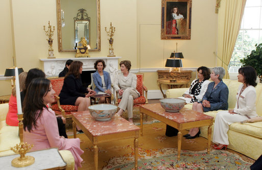 Mrs. Laura Bush hosts a coffee for Xiomora Zelaya, First Lady of Honduras, in the Yellow Oval Room in the private residence of the White House Monday, June 5, 2006. White House photo by Shealah Craighead