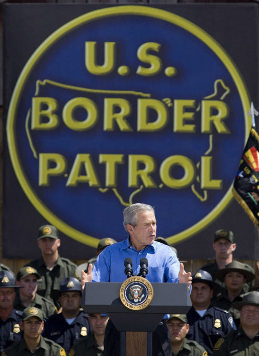 President George W. Bush delivers remarks on border security and comprehensive immigration reform at the Federal Law Enforcement Training Center Artesia Facility in Artesia, New Mexico, Tuesday, June 6, 2006. White House photo by Eric Draper
