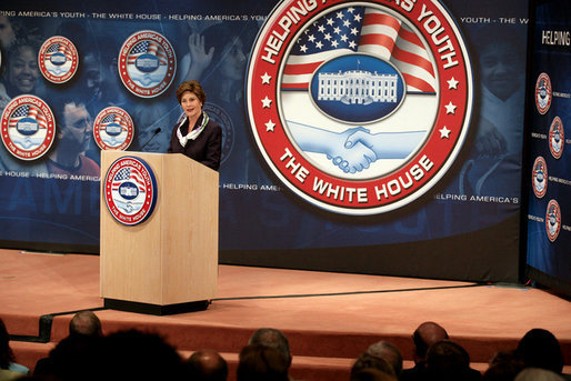 Mrs. Laura Bush addresses the Indiana Regional Conference on Helping America's Youth, Tuesday, June 6, 2006, at Indiana University-Purdue University Indianapolis, in Indianapolis, Indiana. During her remarks, Mrs. Bush emphasized the need for awareness of the challenges facing today's youth and the need for adults to care, connect and commit. White House photo by Shealah Craighead