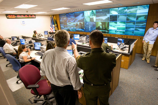 President George W. Bush tours the remote video surveillance Camera Command Center of the Laredo Border Patrol Sector Headquarters, Tuesday, June 6, 2006 in Laredo, Texas. White House photo by Eric Draper
